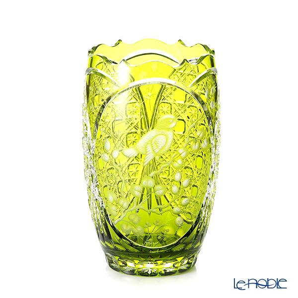 マイセン(Meissen) マイセンクリスタル BIRDS 2/26LG 花瓶 トリ(ライトグリーン) 26cm