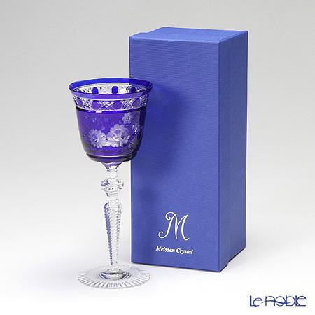 マイセン(Meissen) マイセンクリスタル ロンドンフラワー ワイングラス 20.9cm(ブルー) MFO/3517/2B