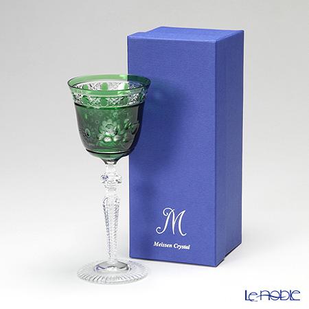 マイセン(Meissen) マイセンクリスタル ロンドンフラワー ワイングラス 20.9cm(グリーン) MFO/3517/2G