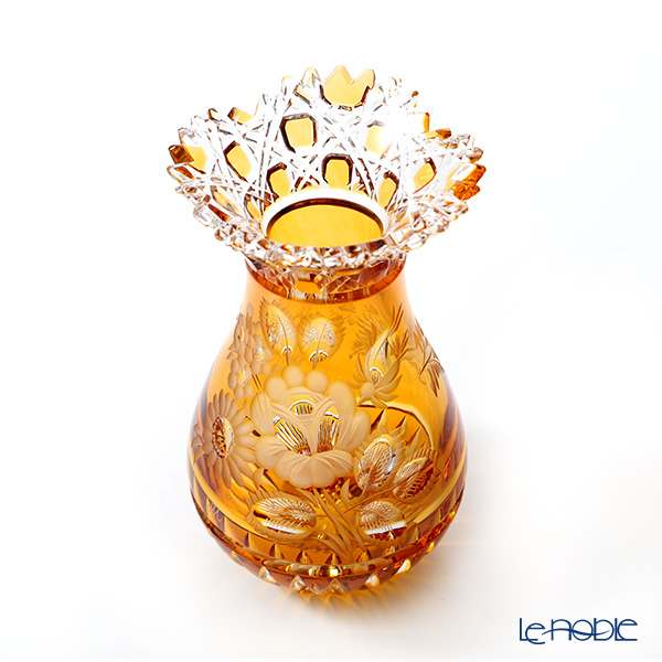 Meissen Crystal 'Flowers' Amber Yellow MFO1420/16AB Vase H16cm