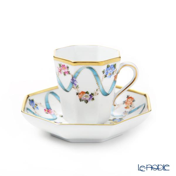 ヘレンド フラワーリボン モカカップ&ソーサー(オクタゴナル) 04307-0-00
