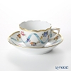 Herend 'Flower Garland with Ribbon' Blue FLR 00711-0-00 Mocha Coffee Cup & Saucer 100ml