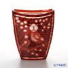 Meissen Crystal 'Owl family and Flowers' Red OWL/81038/25R Crescent Vase H24.5cm