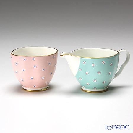 Wedgwood 'Polka Dot - Tea Story' Turquoise Blue & Pink Sugar, Creamer (set of 2)