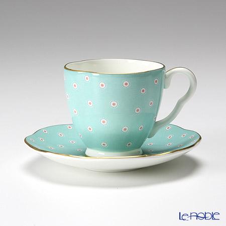 ウェッジウッド(Wedgwood) ハーレクィーンコレクション コーヒーカップ&ソーサー(ポルカドット ティーストーリー/ターコイズ)