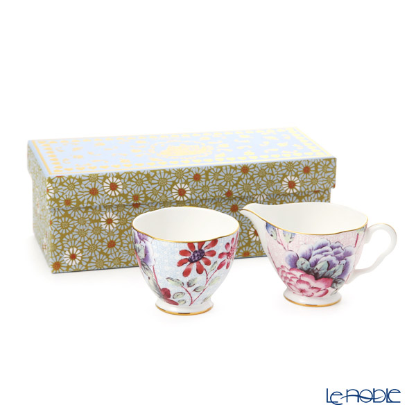 Wedgwood 'Cuckoo' Blue & Pink Sugar, Creamer (set of 2)