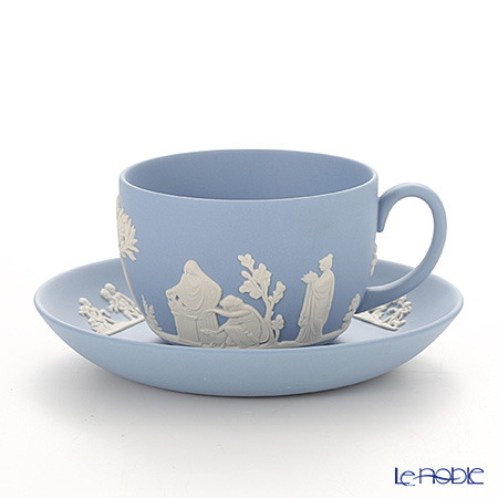 Wedgwood 'Jasperware - Pale Blue' Tea Cup & Saucer