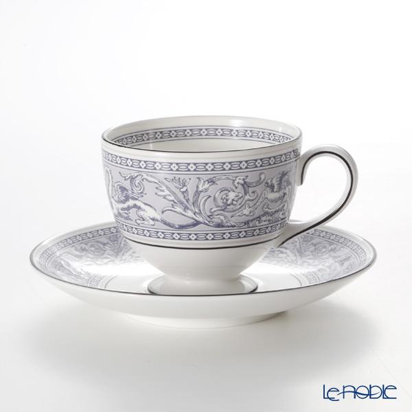 Wedgwood 'Florentine Indigo' Blue Leigh Tea Cup & Saucer 200ml