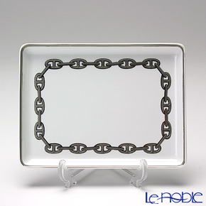 エルメス(HERMES) シェーヌ ダンクル プラチナ 長方形皿 16×12cm