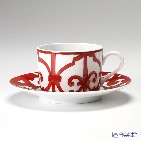 Hermes 'Balcon du Guadalquivir' Red 011016P Tea Cup & Saucer 160ml