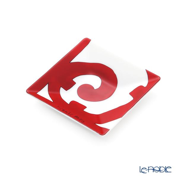Hermes 'Balcon du Guadalquivir' Red [No.1] 011041P Square Plate 7cm