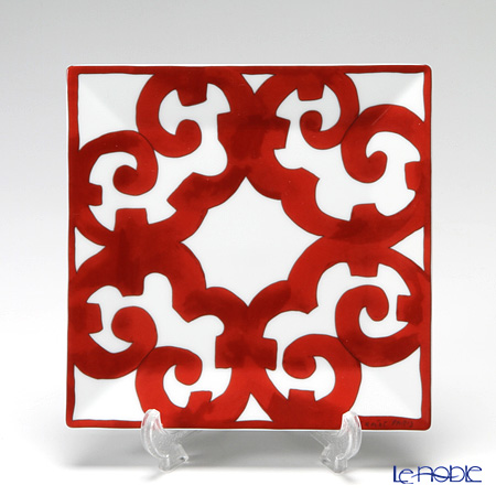 Hermes 'Balcon du Guadalquivir' Red [No.3] Square Plate 15cm