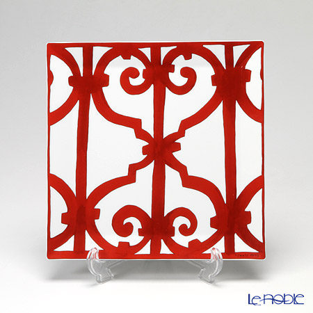 Hermes 'Balcon du Guadalquivir' Red [No.5] Square Plate 23cm