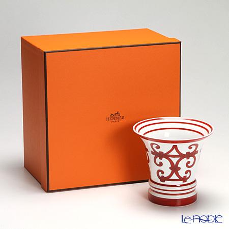 Hermes 'Balcon du Guadalquivir' Red Small Vase H13.5cm