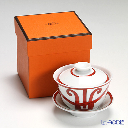 Hermes Balcon du Guadalquivir Tea cup with lid and saucer, 4.33 fl.oz.