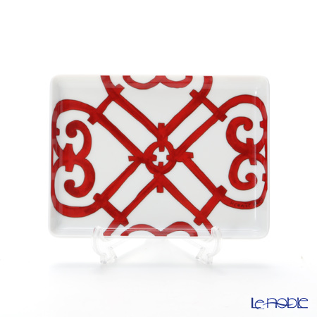 Hermes 'Balcon du Guadalquivir' Red Sushi Rectangular Plate 16x12cm