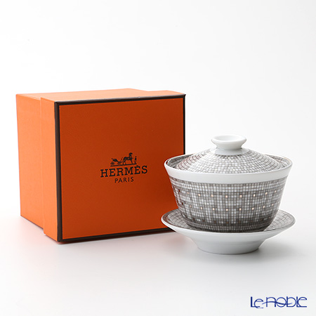 Hermes Mosaique au 24 Tea cup with lid and saucer, platinum, 4.33 fl.oz.