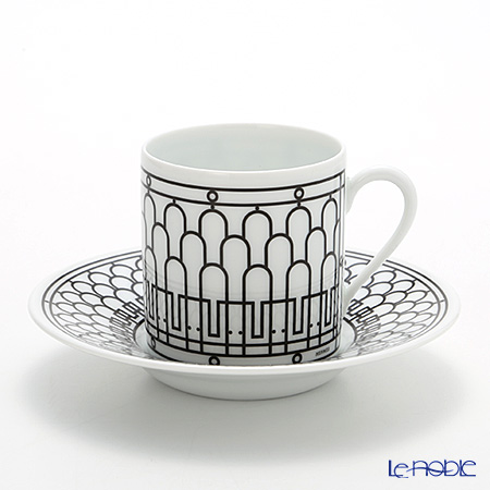 Hermes 'H Deco' Black Coffee Cup & Saucer 90ml