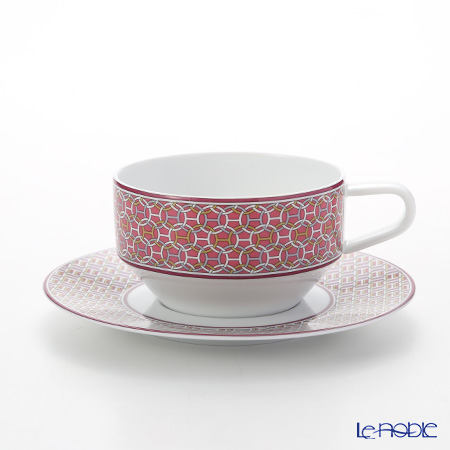 Hermes Tie-Set Fuchsia Tea cup and Saucer, 150 ml