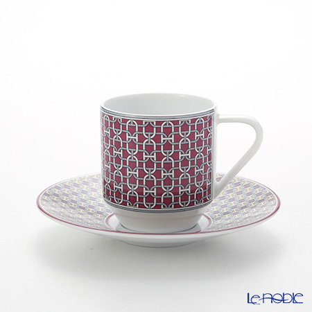 Hermes 'Tie-Set' Garnet Red Coffee Cup & Saucer 100ml