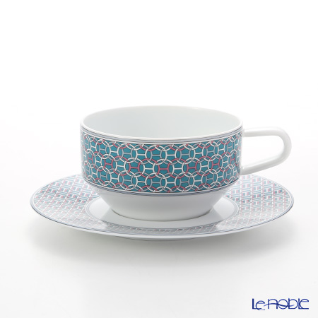 Hermes 'Tie-Set' Mint Green 040116P Tea Cup & Saucer 150ml