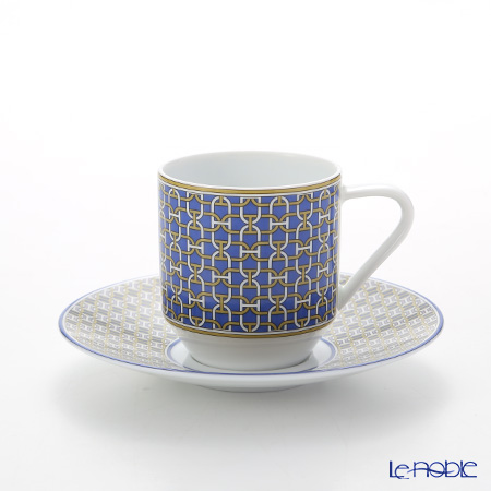 Hermes Tie-Set Cobalt Coffee Cup & Saucer, 100 ml
