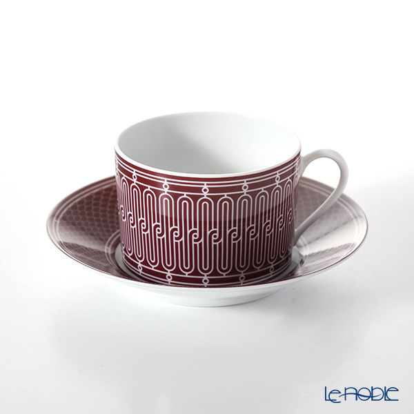 Hermes 'H Deco' Rouge Red Breakfast Cup & Saucer 340ml