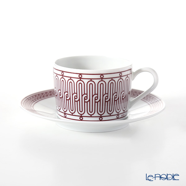 Hermes H Deco rouge Tea cup and saucer, 16.0 cl