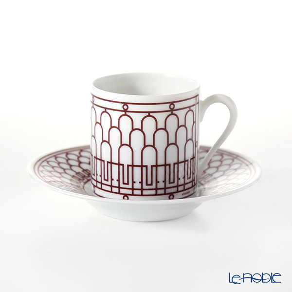 Hermes 'H Deco' Rouge Red 041017P Coffee Cup & Saucer 90ml