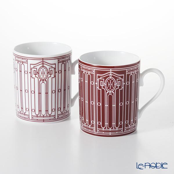 Hermes 'H Deco' Rouge Red Mug 300ml (set of 2 / No.1 & No.2)