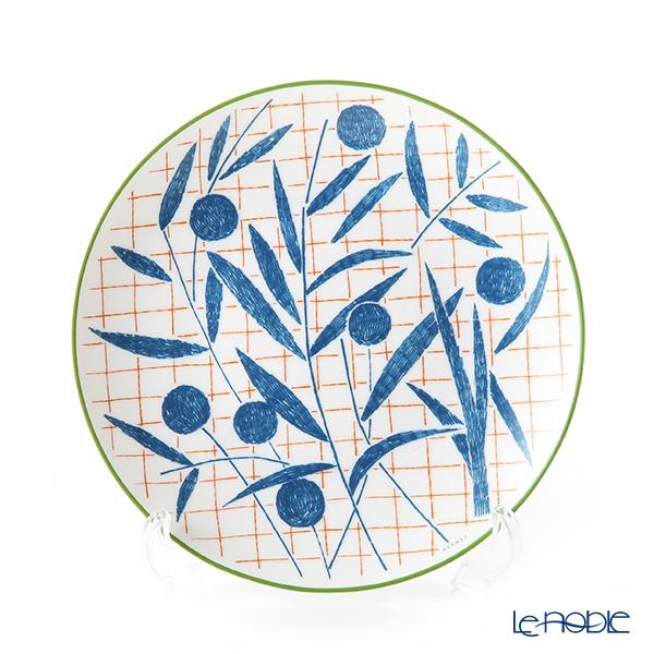 Hermes 'A Walk in the Garden' Blue Dessert Plate 21cm