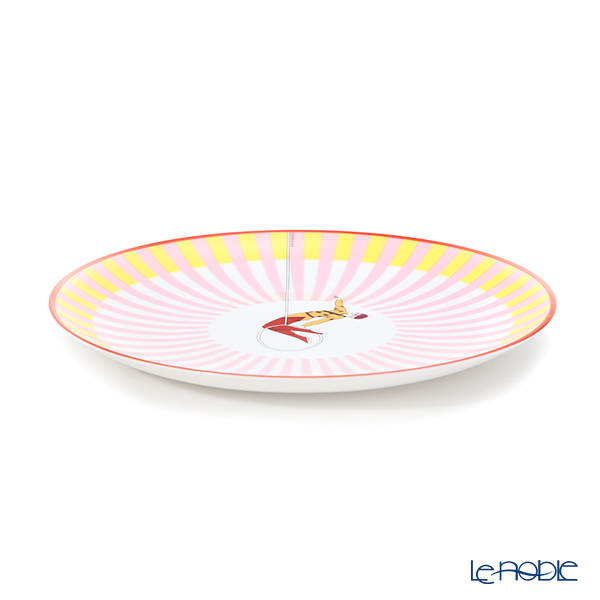 Hermes 'Circus NEW' Pink [No.3] 045407P Dessert Plate (Stripe) 21.5cm