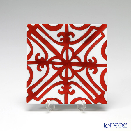 Hermes 'Balcon du Guadalquivir' Red [No.2] 211059P Square Plate 11cm