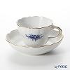 Meissen 'Basic Flower (2 Flowers)' Cobalt Blue (Neu Marseille shape) 140210/02582B Coffee Cup & Saucer 200ml