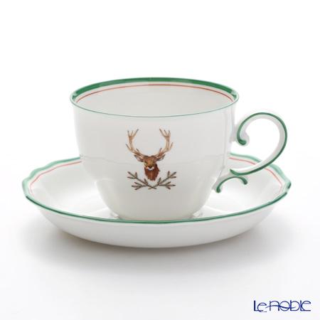 アウガルテン(AUGARTEN) 狩(5824A)スタッグ(鹿) コーヒーカップ&ソーサー 0.2L(062モーツアルトシェイプ)