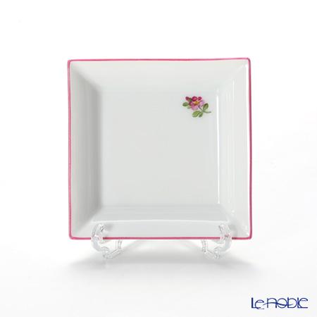 アウガルテン(AUGARTEN) プティットフルール(7096A) ピンク スクエアディッシュ 8×8cm(867)