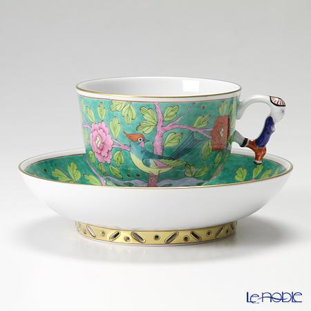 ヘレンド シノワズリ(中国趣味)マカオグリーン MACV 03364-0-21/3364 マンダリン ラージカップ&ソーサー