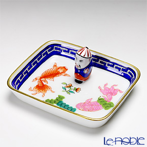 Herend 'Fishes / Poisson' Blue PO 07733-0-21 Rectangular tray / Ashtray with Mandarin 8x6.5cm