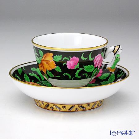 Herend Quangxi Moccacup, mandarin handle with saucer, QUA 03371-0-21