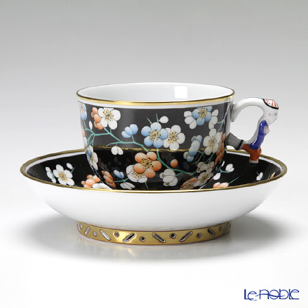 ヘレンド 黒地紅梅 PFNC 03364-0-21/3364 ラージカップ&ソーサー