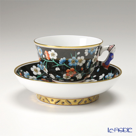 Herend Prunier famille noir colore Moccacup, mandarin handle with saucer, PFNC 03371-0-21