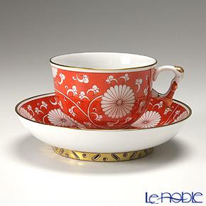 ヘレンド シノワズリ(中国趣味)赤地菊 CHRY 03364-0-21 マンダリン ラージカップ&ソーサー