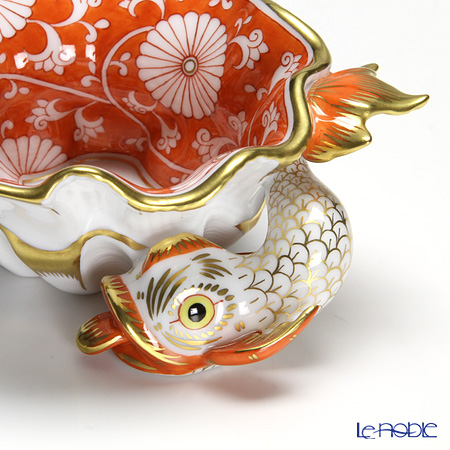 Herend Chrysanteme CHRY 07729-0-00 Red Ashtray / Bowl (Shell shape with Fish) 10.5cm