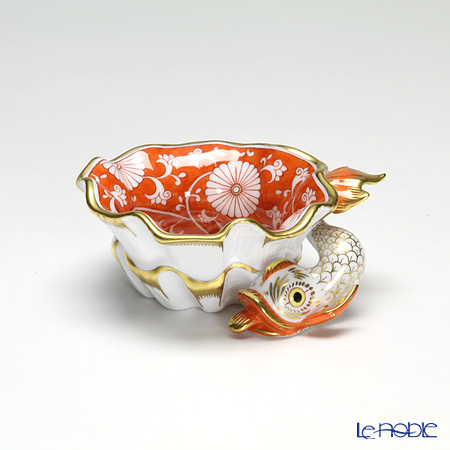 Herend 'Chrysanthemum' Red CHRY 07729-0-00 Ashtray / Bowl (Shell shape with Fish) 10.5cm