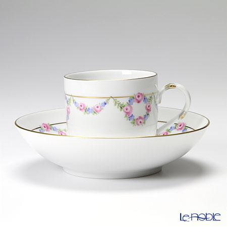 マイセン(Meissen) 花綱飾り(ローズ&忘れな草) コーヒーカップ&ソーサー 200cc