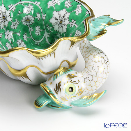 Herend Rose de Chine RDCV 07729-0-00 Green Ashtray / Bowl (Shell shape with Fish) 10.5cm