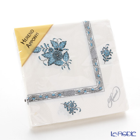 Herend 'Chinese Bouquet Turquoise Blue Platinum / Apponyi' ATQ3-PT Paper Napkins 33x33cm (set of 20)