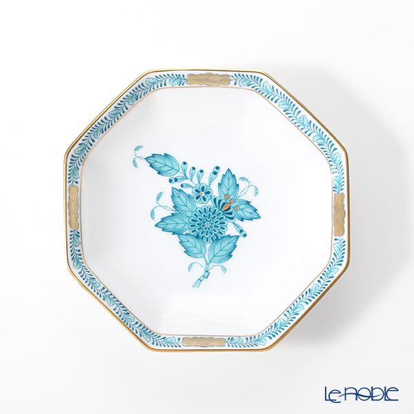 Herend Chinese Bouquet Turquoise / Apponyi ATQ3 04307-1-00 Octagonal Plate 10.5cm