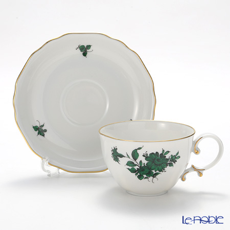 Augarten 'Maria Theresia - Margeuerite' Green [Mozart shape] Mocha Coffee Cup & Saucer 100ml