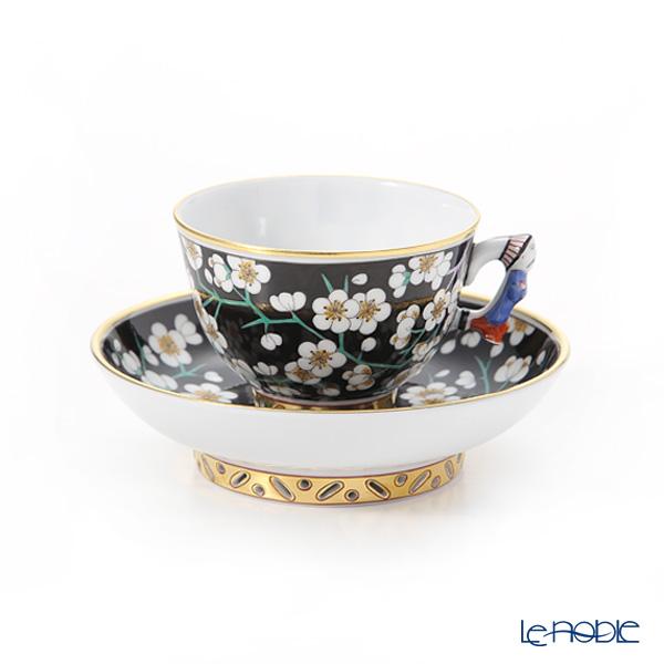 ヘレンド 黒地白梅 PFNB 03371-0-21 スモールカップ&ソーサー